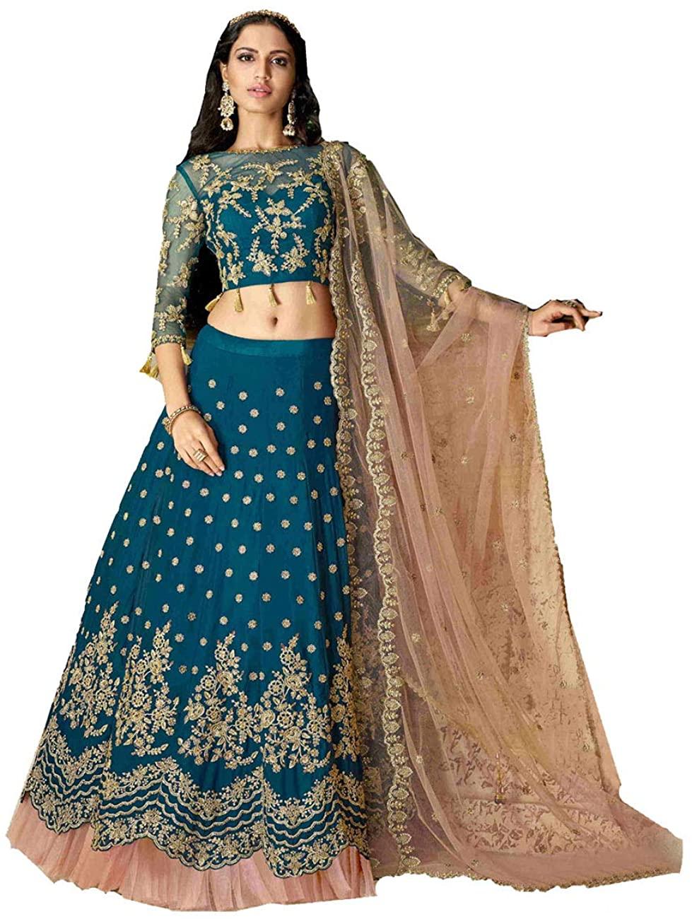 Indian Women Designer Partywear Ethnic Traditional Blue Lehenga Choli. ICW2607-11