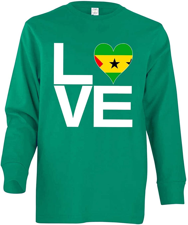 Tenacitee Boy's Youth Love Block Sao Tome and Principe Heart Long Sleeve
