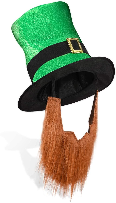 St. Patricks Day Leprechaun Top Hat with Beard-Mens Womens Kids Irish Costume Green