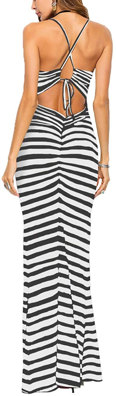 Famulily Womens Sexy Bodycon Backless Striped Long Maxi Dress in Zebra Stripes