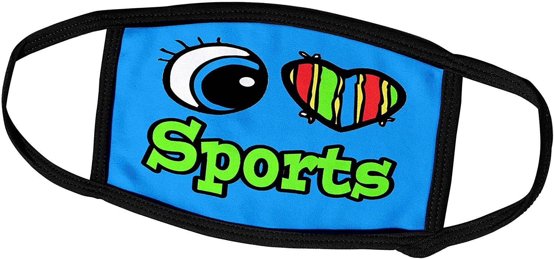 3dRose Dooni Designs Eye Heart I Love Designs - Bright Eye Heart I Love Sports - Face Masks (fm_106557_2)