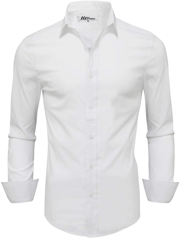 HRYfashion Mens Classic-Fit Wrinkle Free Flex Collar Stretch Solid Dress Shirt