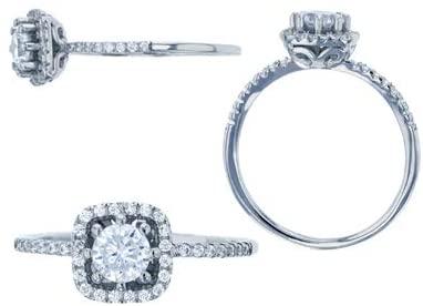 Sterling Silver Rhodium 5mm Round CZ Sq Halo Engagement Ring
