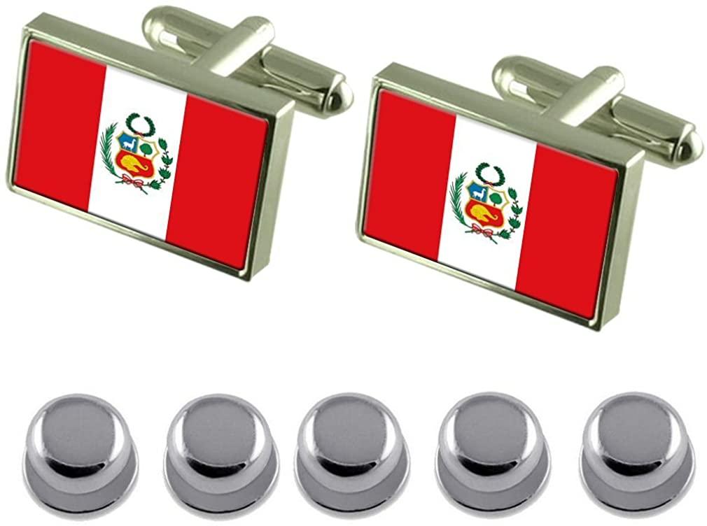 Select Gifts Shirt Dress Studs Perú Flag Cufflinks