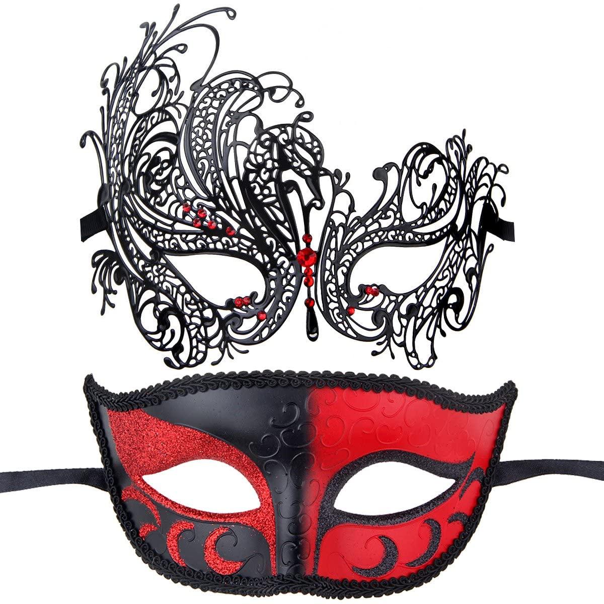 IETANG Couples Pair Half Venetian Masquerade Ball Masks Set Party Costume Accessory