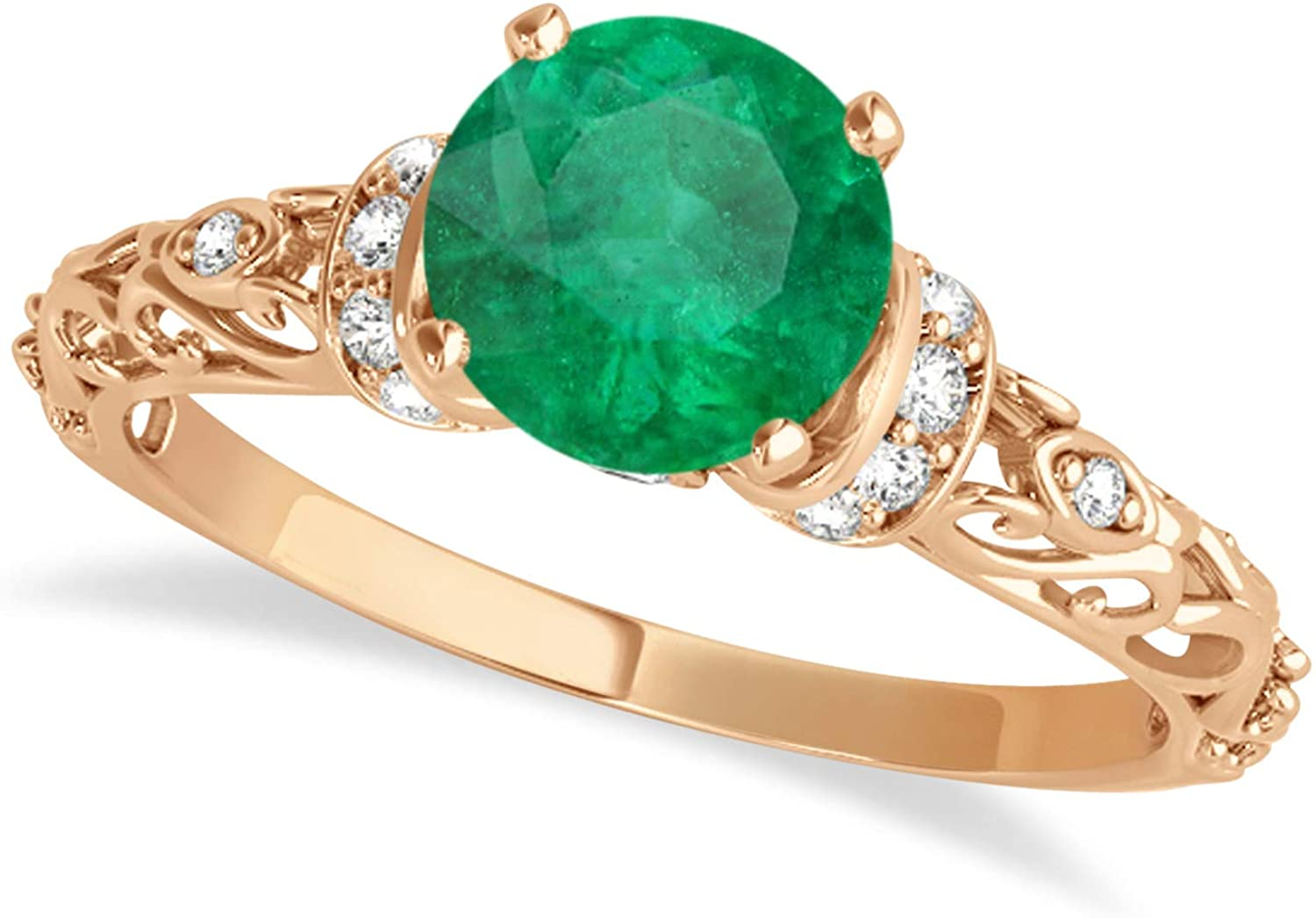 18k Gold (0.87ct) Emerald and Diamond Antique-Style Engagement Ring