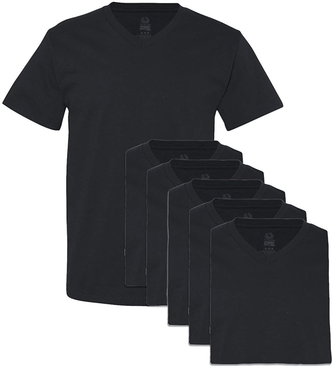 Fruit of the Loom Men's 6 Pack V-Neck T-Shirt, Black, XX-Large