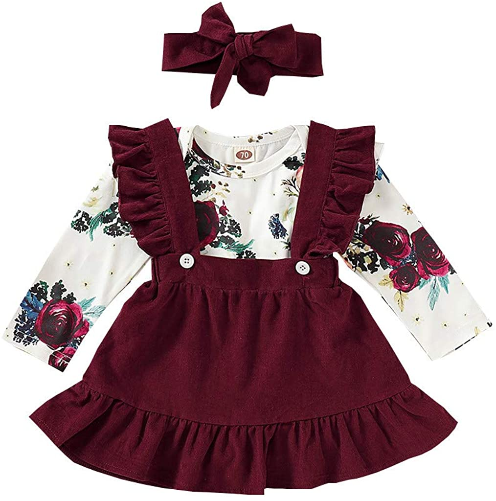 VEFSU Floral Print Casual Comfortable Bodysuit Solid Cute Ruffle Strap Skirt for Baby