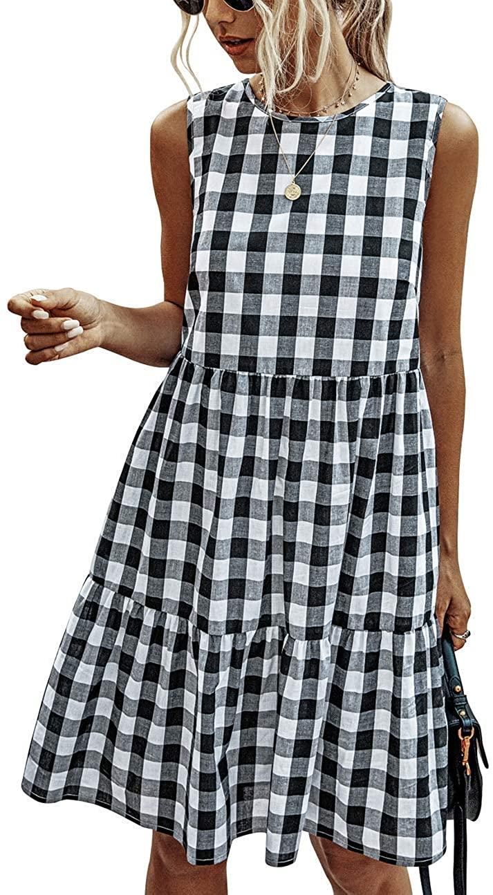 Women Summer Dresses Casual Ruffle Sleeveless Plaid Babydoll Sundress Tank Short Dress with Pockets