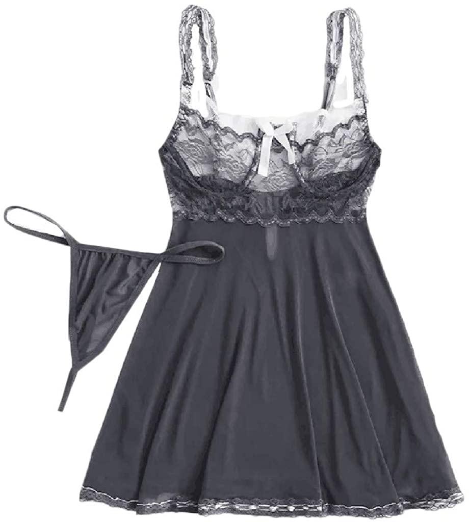 LENXH Ladies Sexy Nightdress Lace Dress Mesh Stitching Pajamas Lace Fashion Nightdress
