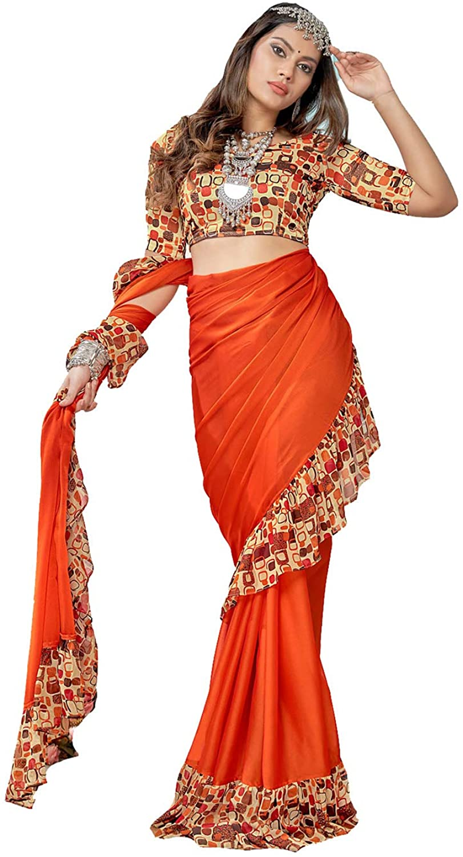 Indian Saree for Women Ethnic Sari Orange Georgette Sari with Unstitched Blouse. ICW2723-3