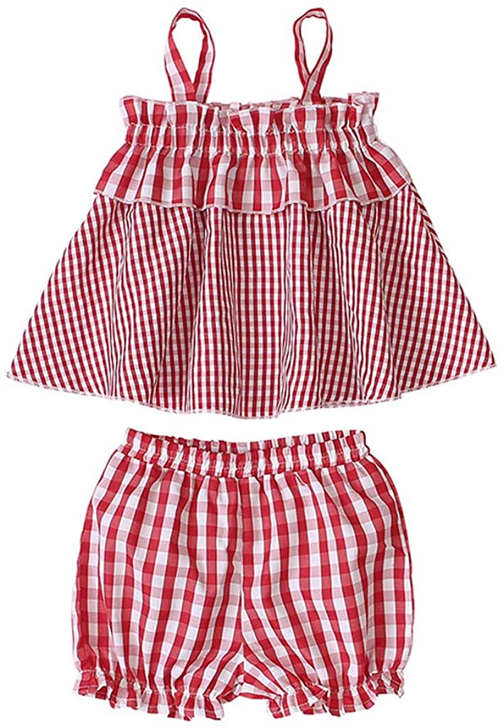 for 2-5 Years Girls Clothing Set, Toddler Kids Baby Girls Plaid Suspenders Vest Tops Ruffle Shorts Outfits Set