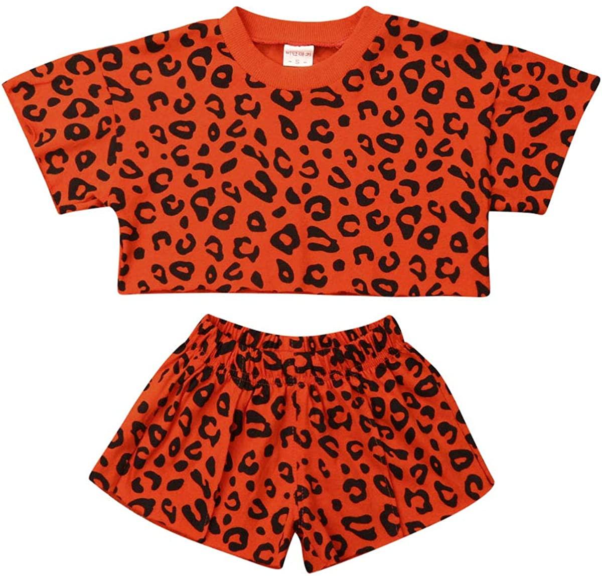 Toddler Kid Baby Girl Summer Cheetah Tops Tshirt Blouse Pocket PU Leather Shorts Pants 2Pcs Set Clothes Outfits