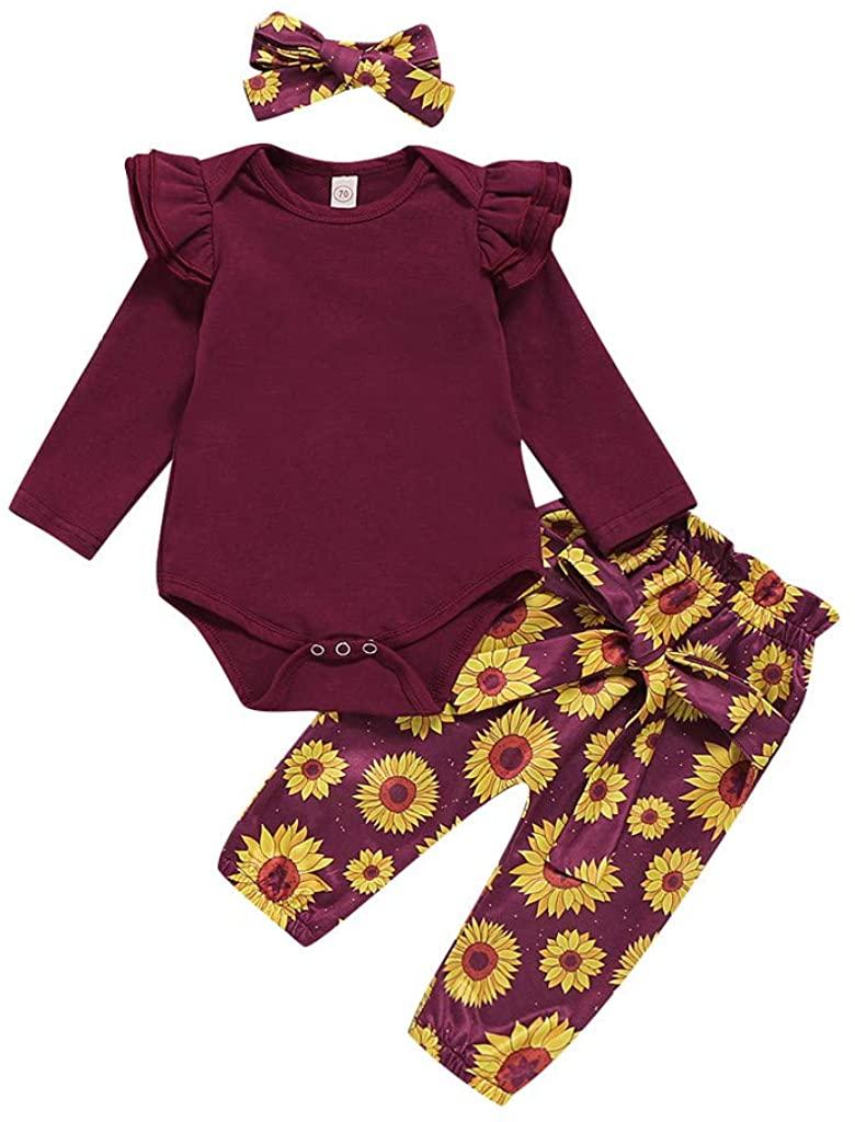 WOCACHI Baby Girls Bodysuits Pants Sets, Infant Valentines Day Romper Sweatpants Headbands Cap 3Pcs/4PCS Outfits Set