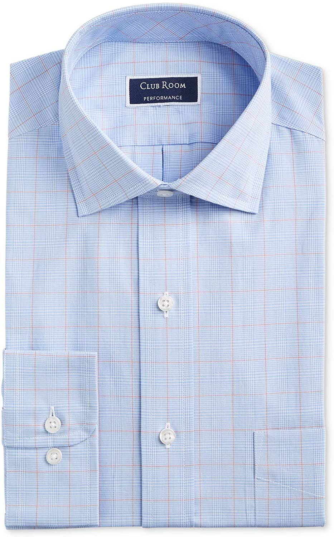 Club Room Men's Regular Fit Stretch Wrinkle-Resistant Small Glen Plaid Dress Shirt, Light Blue/Orange, 16 x 32/33
