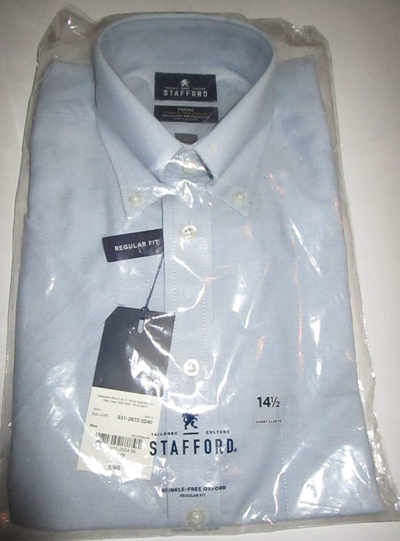 Stafford Travel Wrinkle-Feee Oxford Short-Sleeve Light Blue