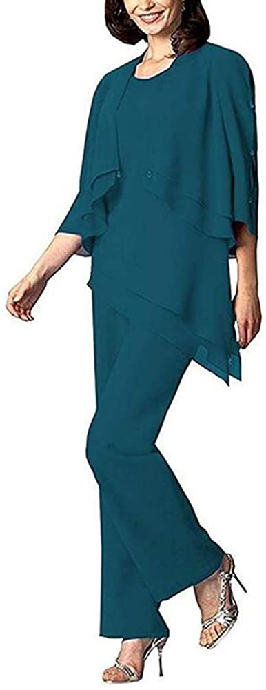 Women's Teal 3 Pieces Chiffon Long Sleeves Mother of Groom Bride Dress Pant Suits Elegant for Wedding US16