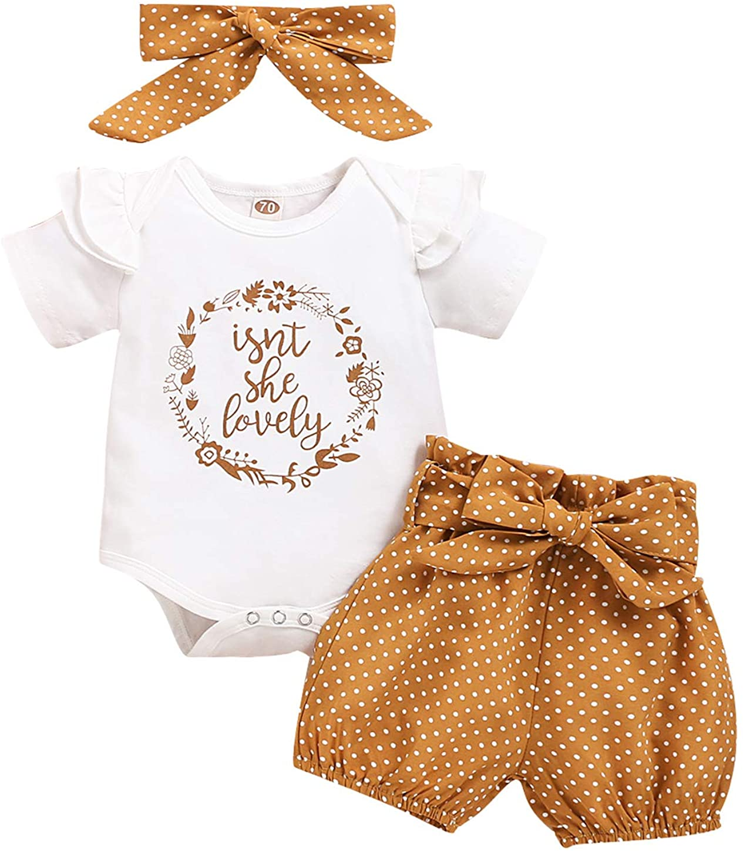 Newborn Baby Girl Short Sleeve Ruffle Sunflower Romper Bodysuit Tops+Dress Shorts Set Headband Set Infant Girl Outfits