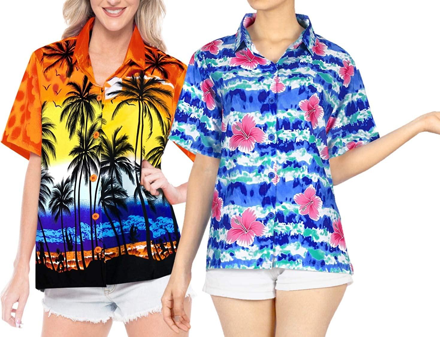 LA LEELA Women's Tunic Hawaiian Shirt Beach Aloha Party Camp Shirt Work from Home Clothes Women Beach Shirt Blouse Shirt Combo Pack of 2 Size M