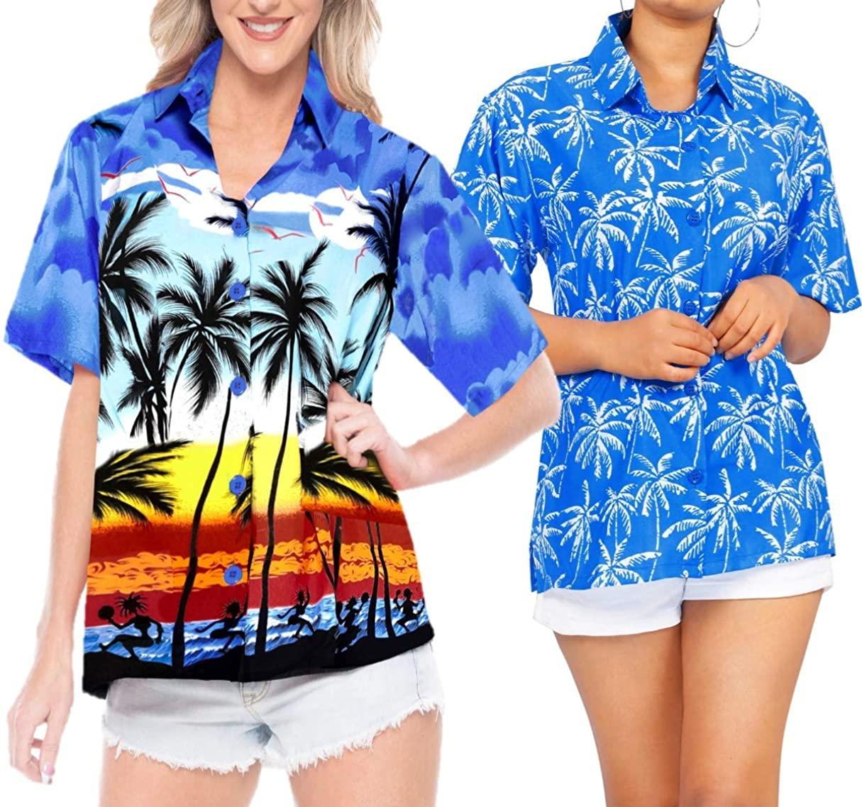 LA LEELA Women's Swim Hawaiian Shirt Short Sleeve Button Down Shirt Work from Home Clothes Women Beach Shirt Blouse Shirt Combo Pack of 2 Size S