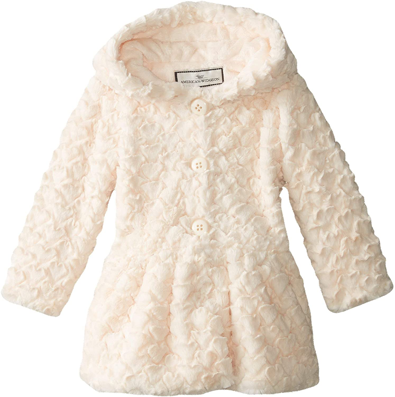 Widgeon Big Girls' Button Front Faux Fur Coat, Heart Ivory, Size 4T