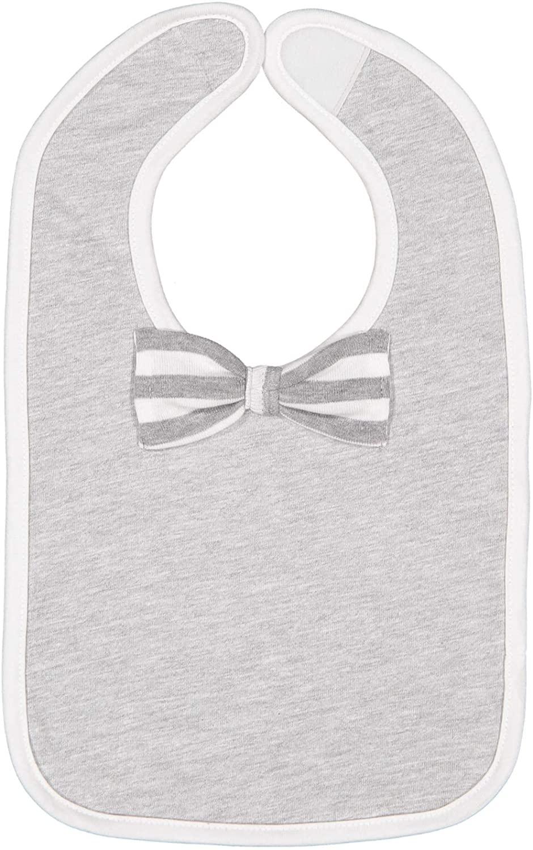 Rabbit Skins Infant Bow Tie Baby Rib Bib (Heather/White/Heather & White Stripe, One Size)