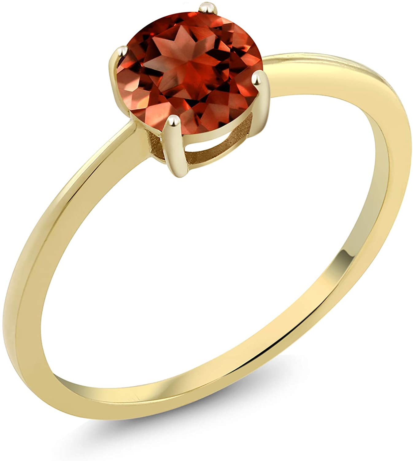 Gem Stone King 10K Yellow Gold Round Red Garnet Gemstone Birthstone Solitaire Engagement Ring 1.00 cttw (Available 5,6,7,8,9)