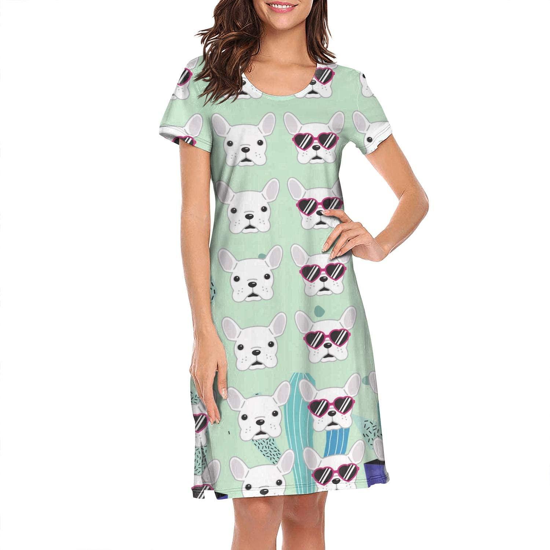 Crewneck Short Sleeve Nightgown Dabbing Monkey Funny Printed Nightdress Sleepwear Women Pajamas Cute