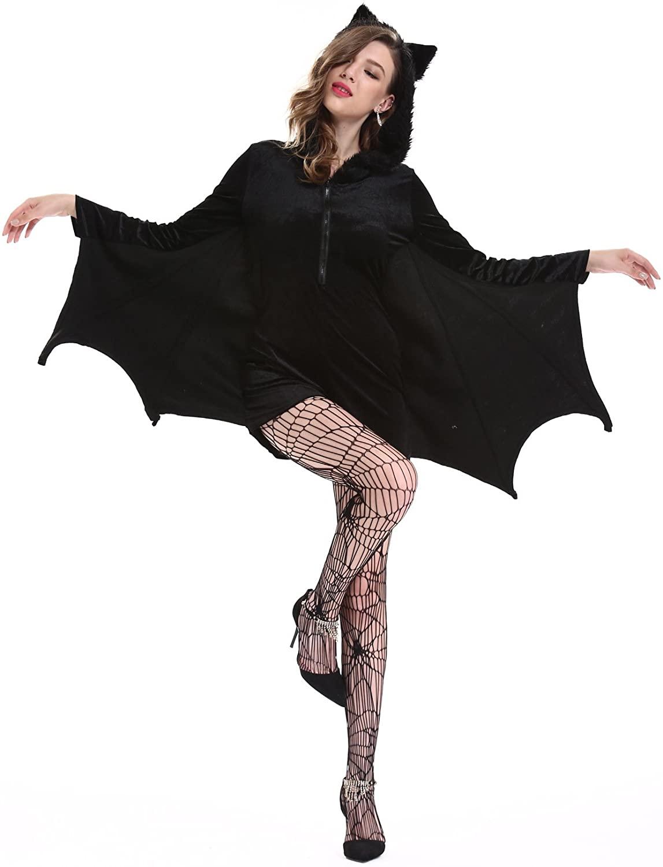 YESBOR Women's Cozy Vampire Bat Halloween Costume Dress Up