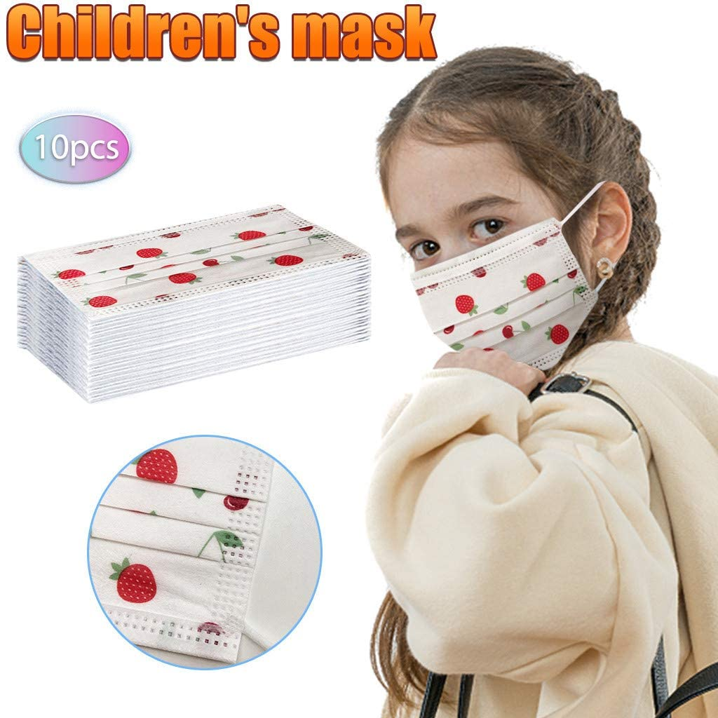 Dis-pos-able 3 Ply Non-Woven Face Bandanas with Cute Pattern, Fashion for Kids