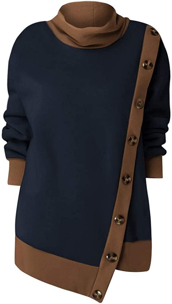 Adeliber Women's Fashion Plus Size Button Spliced Animal Print Long Sleeve Turtleneck Sweatshirt