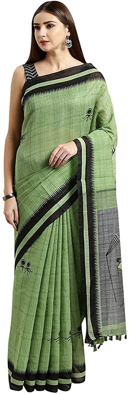 Indian Decor & Attire Women's Linen & Cotton Saree Green