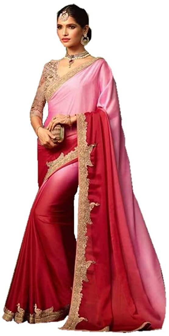 Stylish Eid Uljha Pink Designer Silk Georgette Indian Saree Sari Blouse Muslim Dress 9887B