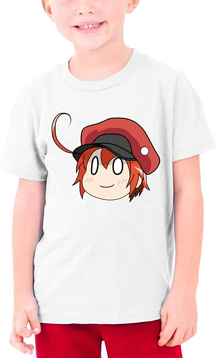 HUbGO Girls Red Blood Cell Anime Short Sleeve T Shirts Black Tees Tops