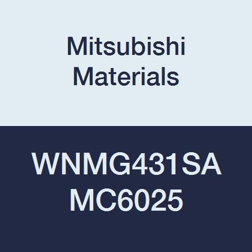 Mitsubishi Materials WNMG431SA MC6025 Coated Carbide WN Type Negative Turning Insert with Hole, Trigon, Grade MC6025, 0.5