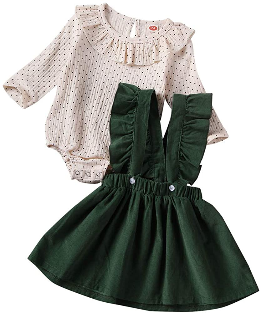 Baby Girl Corduroy Suspender Skirt Set Newborn Polka Dot Bodysuit Tops Overall Dress Fall Outfit Clothes