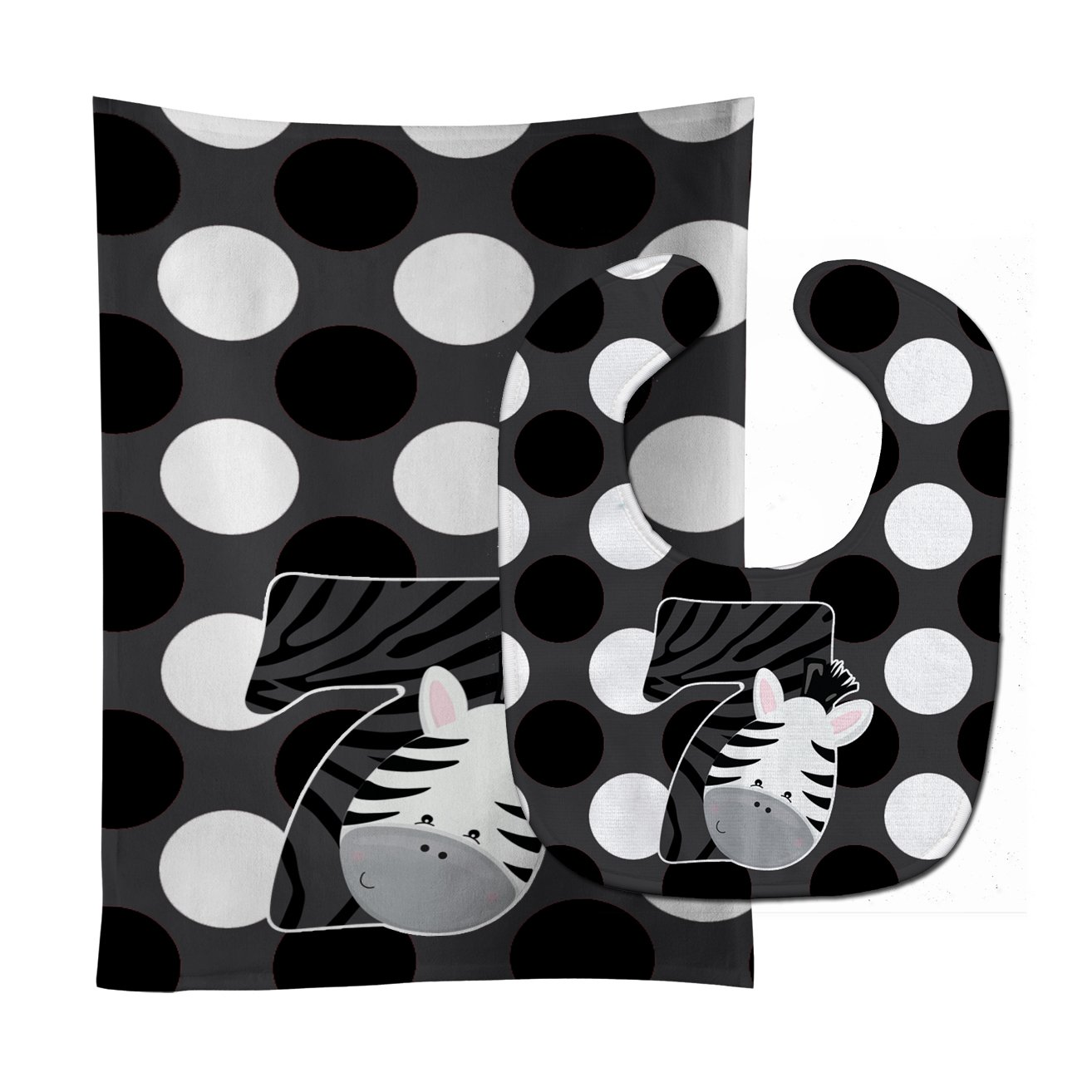 Caroline's Treasures BB9014STBU Zoo Month 7 Zebra Baby Bib & Burp Cloth, 11 x 18