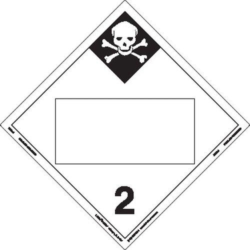 Labelmaster ZVR28 Inhalation Hazard 2 Hazmat Placard, Blank, Removable Vinyl (Pack of 25)
