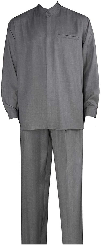 Milano Moda Banded Collar Long Sleeve Walking Suit M2826