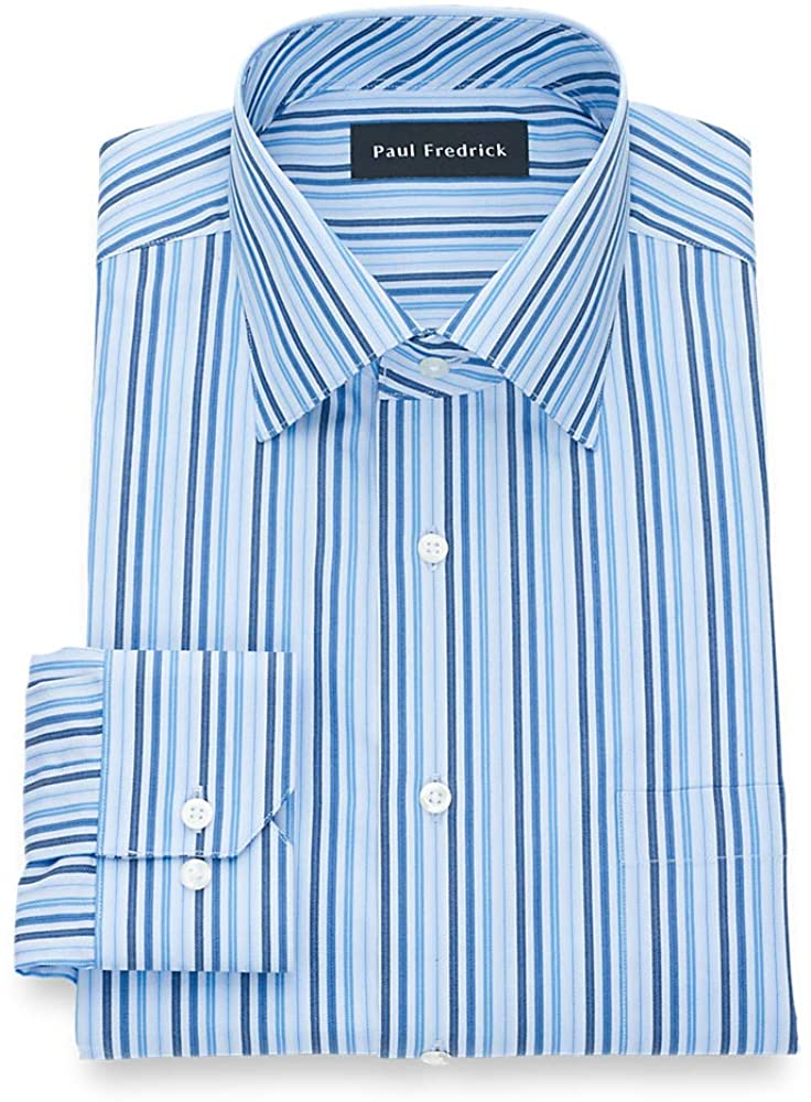 Paul Fredrick Men's Classic Fit Pure Cotton Stripe Dress Shirt