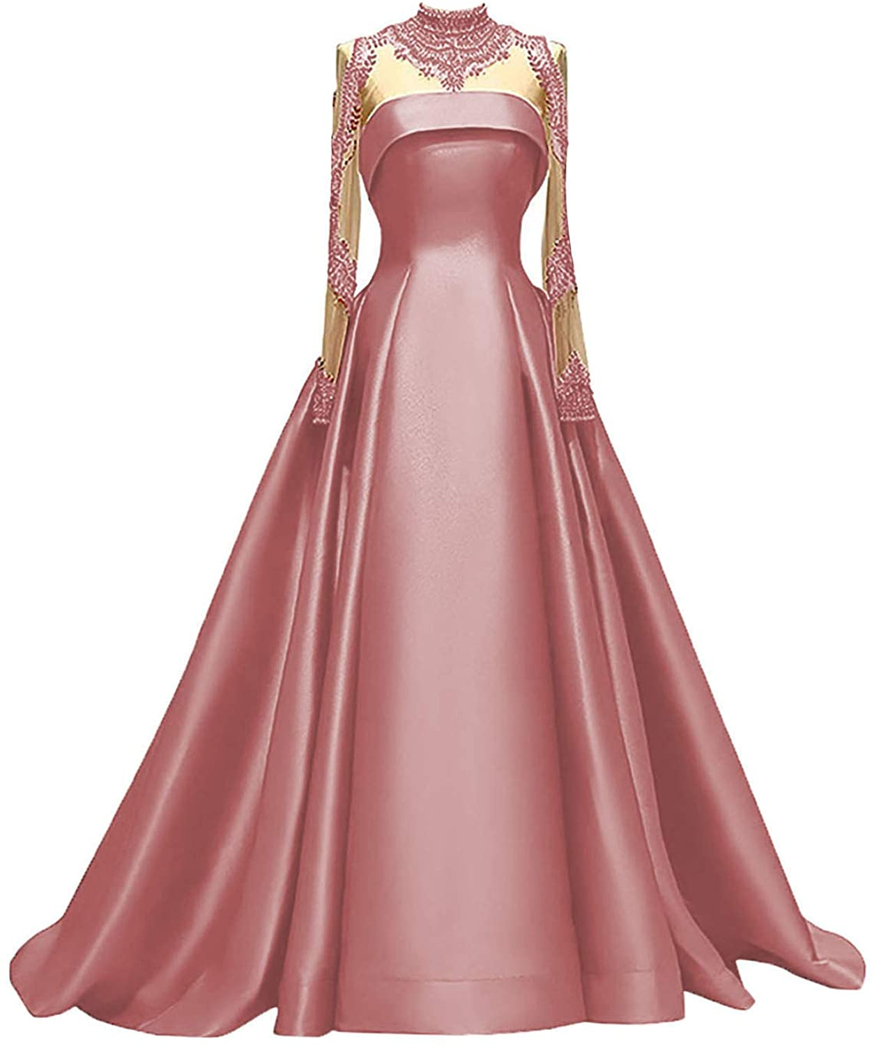 M Bridal Women's A-Line High Neck Long Sleeve Satin Prom Gown