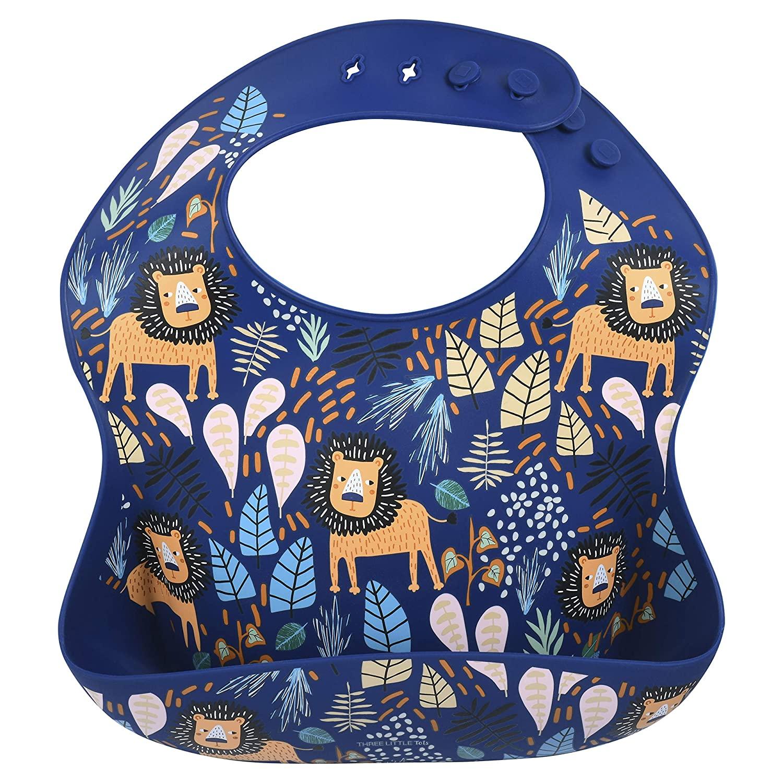 Three Little Tots Modern Silicone Baby Bib – Adjustable Fit Waterproof Catch Bibs ((Lion Print)