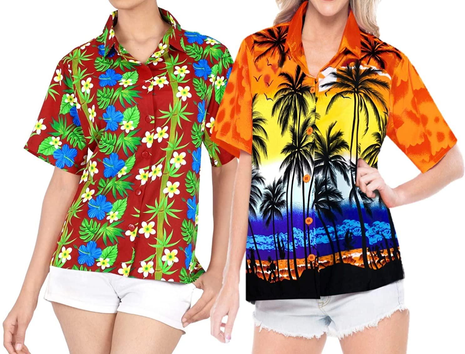 LA LEELA Women's Plus Size Funny Hawaiian Shirt Beach Button Down Up Work from Home Clothes Women Beach Shirt Blouse Shirt Combo Pack of 2 Size XXL