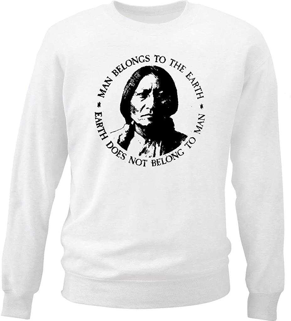 teesquare1st Men's Sitting Bull American Indian Quote White Sweatshirt