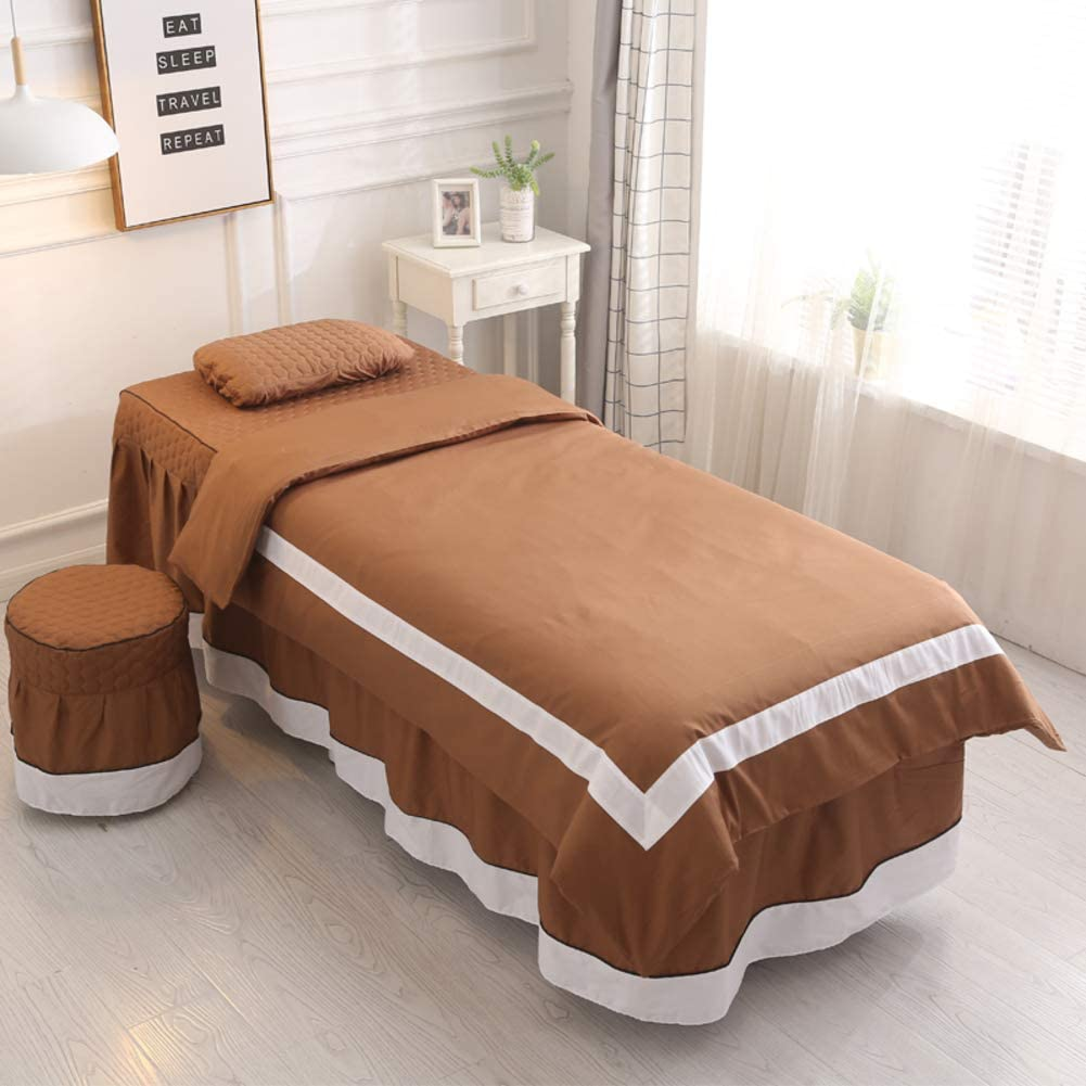 XUESUNSS Solid Color Massage Table Sheet Sets Bed Skirt Sheet Massage Beds Skirt Pillowcase Bedspread with Face Rest Hole, Customizable-brown1 70x185cm(28x73inch)
