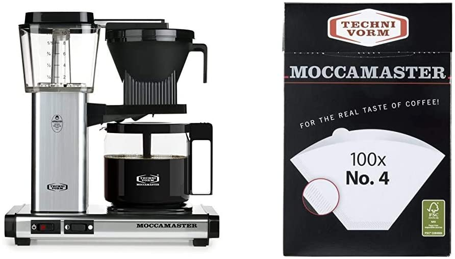 Technivorm Moccamaster 59616 KBG Coffee Brewer, 40 oz, Polished Silver & Moccamaster #4 White Paper Filters, one size