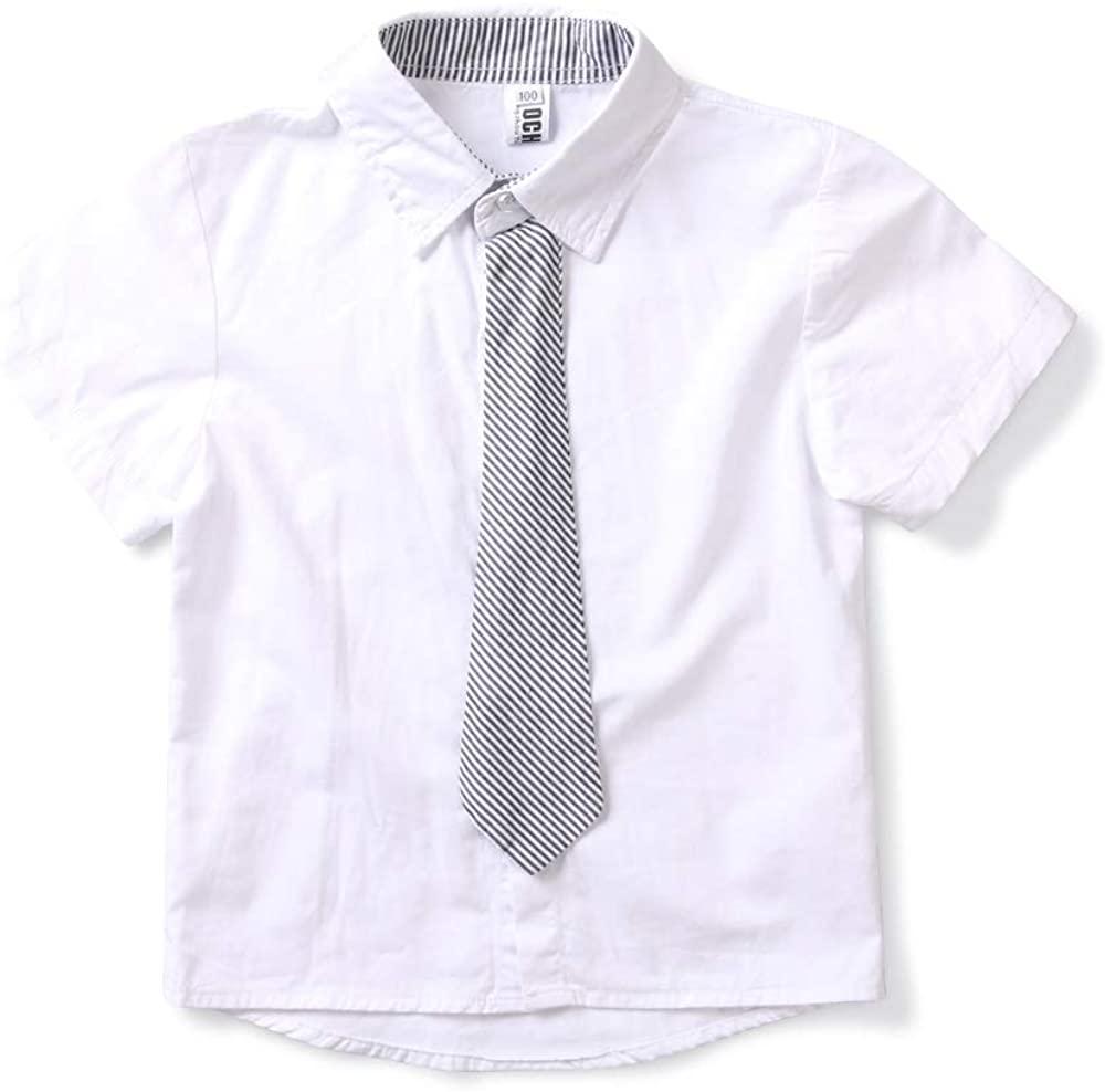 BUFOSA Little Boy's Long Sleeve Button Down Dress Shirt with Bowtie