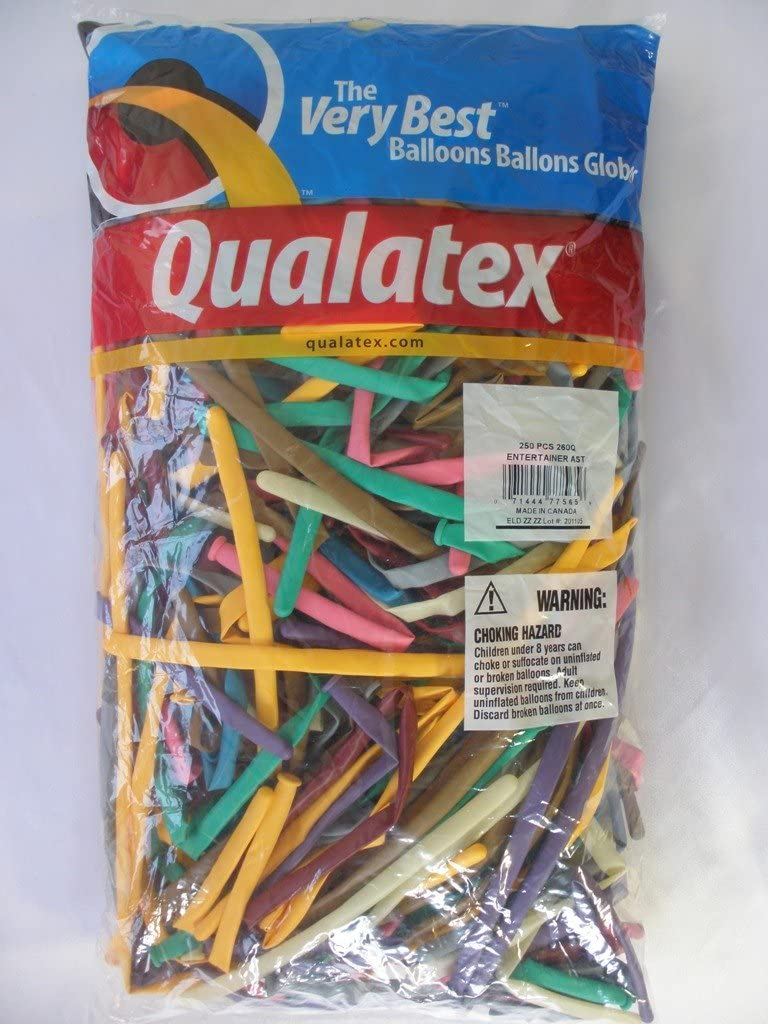 Qualatex 260 Entertainer Balloons (250 Ct) - Mocha Brown, Wintergreen, Tropical Teal, Goldenrod, Rose, Spring Lilac, Gray, Jewel Magenta and Diamond Clear
