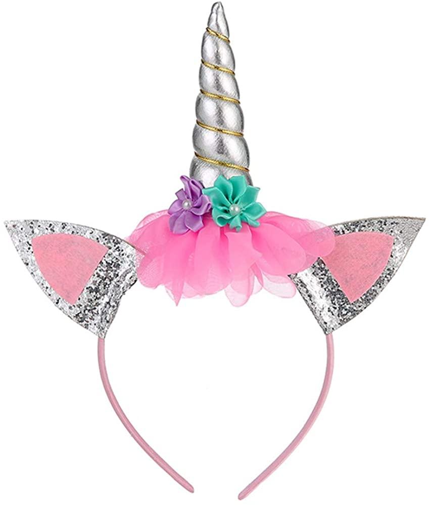BanKids Unicorn Headband for Girls (Unicorn Headband, Silver)