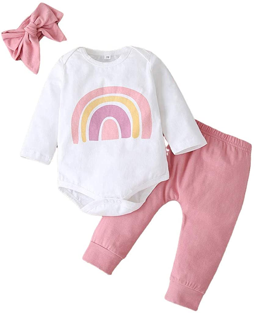 Baby Girl Clothes Newborn Outfit 3pcs Long Sleeve Romper Pants Sets Rainbow Headband Winter Baby Girls Clothing